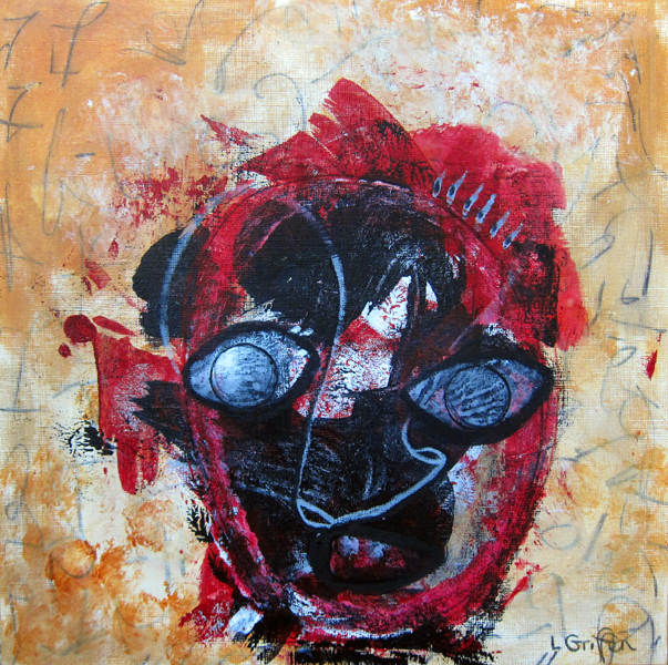 """Mixed media painting """"Choke"""" by Riis Griffen."""