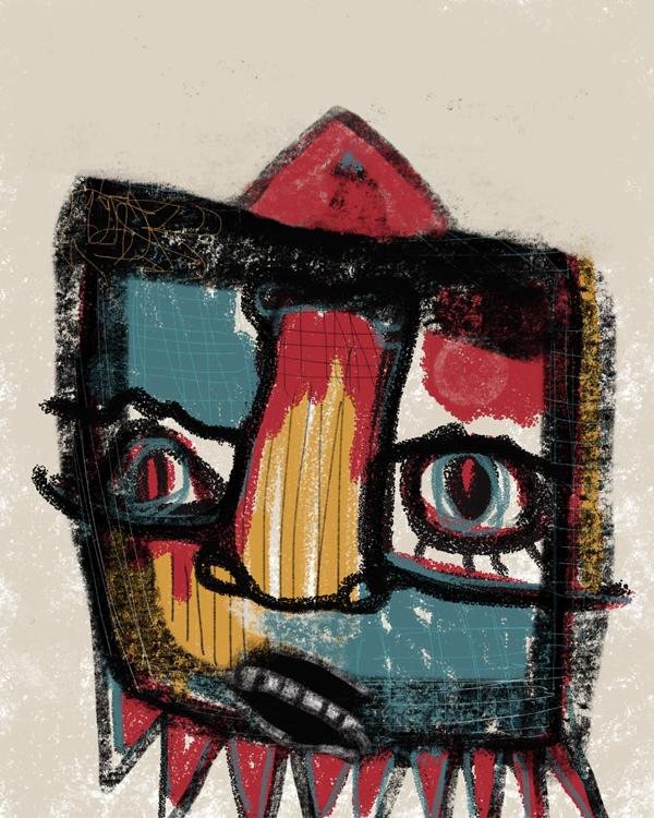 """Basquiat-inspired digital painting """"Creeper"""" by Oregon artist Riis Griffen."""