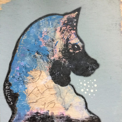 """Mixed media painting, """"Fritz,""""by Oregon artist Riis Griffen."""
